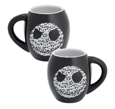 Джек Скеллингтон кружка черная (Jack Skellington Black Oval Ceramic Mug) из мультика Кошмар перед Рождеством