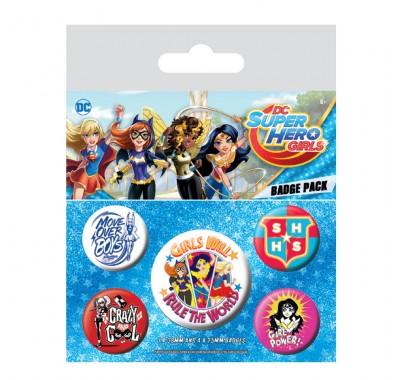 Набор значков Девушки-Супергерои (Super Hero Girls Badge Pack) из комиксов ДС Комикс