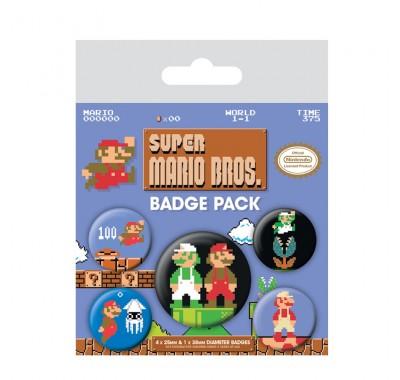 Набор значков Братья Марио ретро (Mario Bros. Retro Badge Pack) из игры Супер Марио Брос Нинтендо