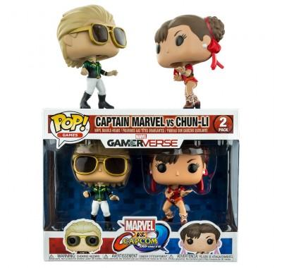 Капитан Марвел в зеленом против Чун Ли в красном (Captain Marvel Green vs Chun-Li Red 2-pack (Эксклюзив Hot Topic)) из игры Марвел против Капком