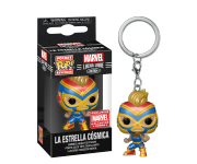 La Estrella Cosmica Captain Marvel Metallic keychain со стикером (Эксклюзив Marvel Collector Corps) из комиксов Marvel: Lucha Libre Edition
