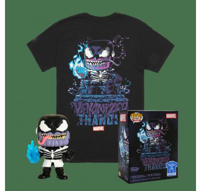 Фигурка и футболка Веномизированный Танос светящийся (Venomized Thanos GitD Pop and Tee (Размер M)) из комиксов Марвел