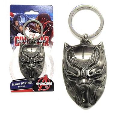 Маска Черной Пантеры брелок (Black Panther Head Pewter Keychain) из фильма Первый мститель: Противостояние