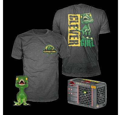 Фигурка и футболка Велоцираптор (Clever Raptor (GR/TRL) POP and Tee (Размер S)) из фильма Парк юрского периода