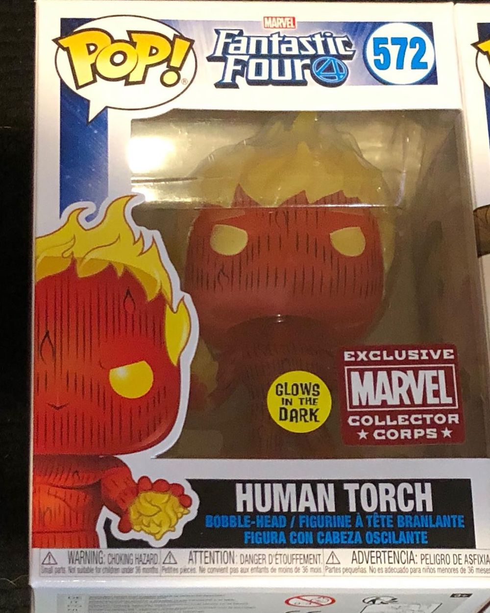 Фанко Марвел Коллектор Корпс Бокс Фантастическая четверка Человек Факел светящийся в темноте