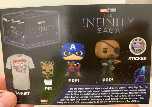 Состав бокса от Funko и Marvel Collector Corps Box на тему Сага Бесконечности (The Infinity Saga)