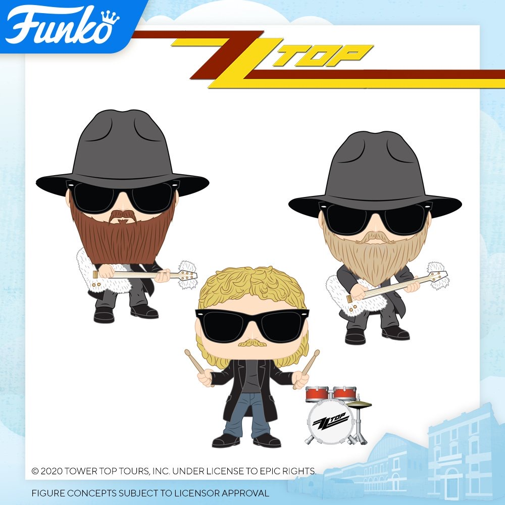 Фигурки Фанко ПОП ZZ Top Dusty Hill, Billy Gibbons, Frank Beard к выставке Toy Fair 2020 в Лондоне