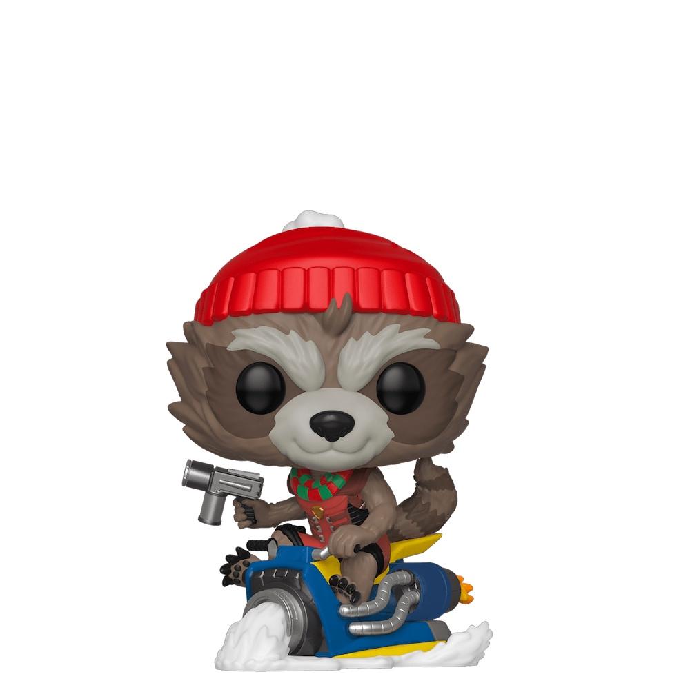 Фанко ПОП Реактивный Енот на снегоходе (Rocket Raccoon on Snowmobile) из комиксов Марвел Праздники