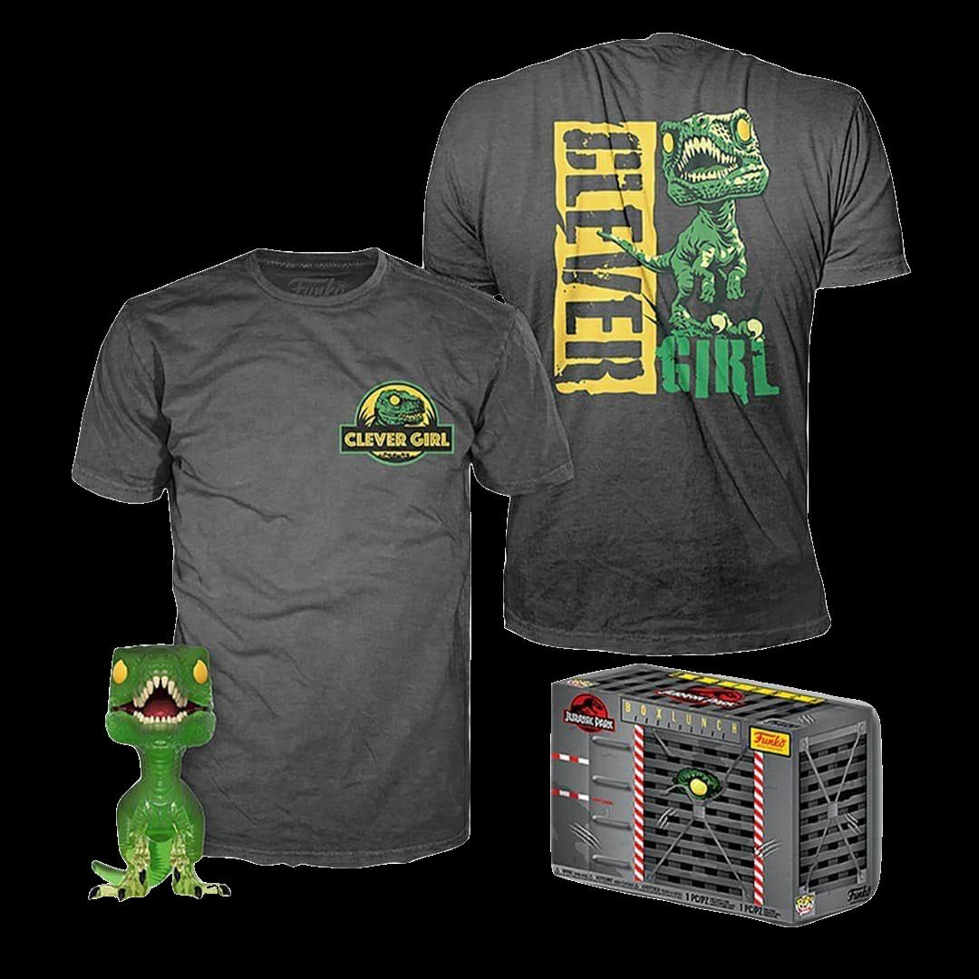 Набор Фигурка и футболка Фанко ПОП Велоцираптор (Clever Raptor (GR/TRL) POP and Tee (Размер 2XL)) из фильма Парк юрского периода