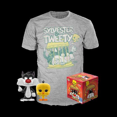 Набор Фигурка и футболка Фанко ПОП Сильвестр и Твити (Sylvester and Tweety POP and Tee (Размер 2XL)) из мультфильма Луни Тюнз